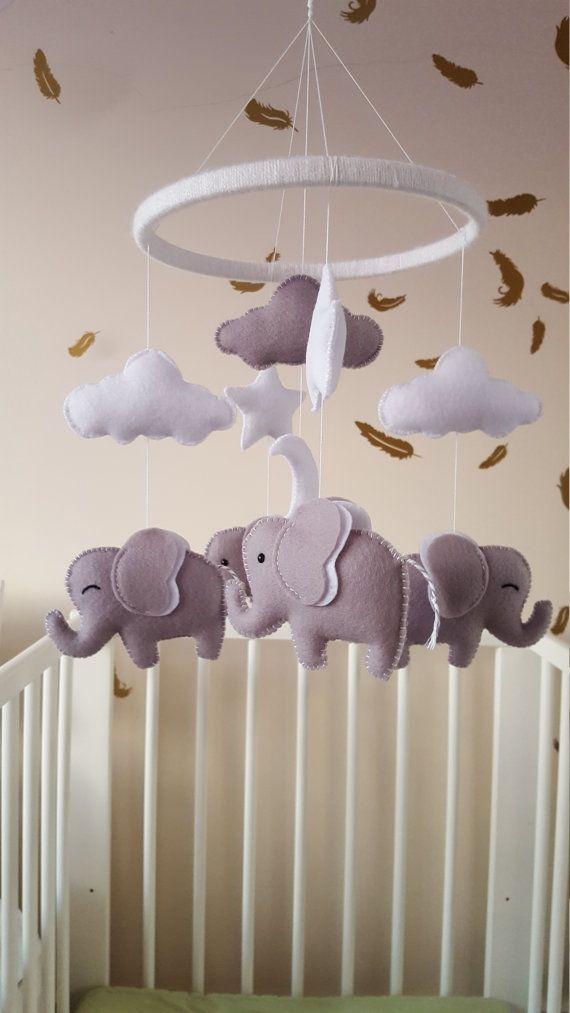 Elephant mobile, elephant baby mobile, unisex baby mobile, grey ...