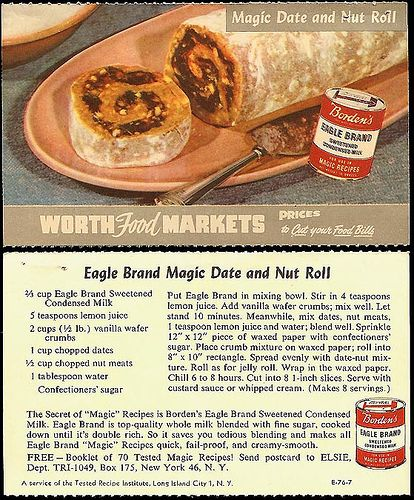 Eagle Brand Condensed Milk Date And Nut Roll My Mom Still Makes Something Like This Today Vintage Recipes Retro Recipes Eagle Brand Recipes