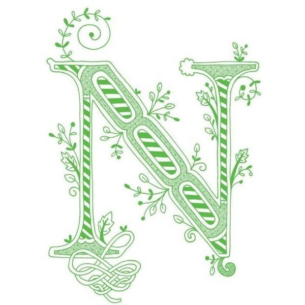 Items Similar To Hand Drawn Monogrammed Print 8x10 The Letter N In