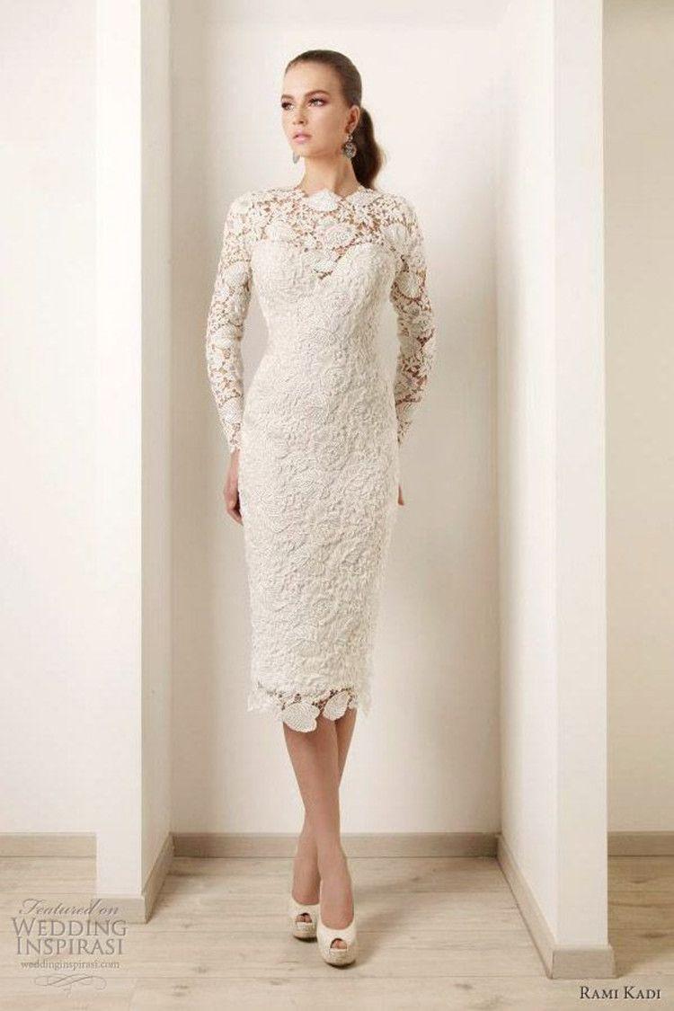 Vestido De Noiva 2016 Ivory Long Sleeve Lace Wedding Dresses High Neck Tea Length Sheath Short Bridal Tea Length Wedding Dress Short Bridal Gown Bridal Dresses [ 1125 x 750 Pixel ]