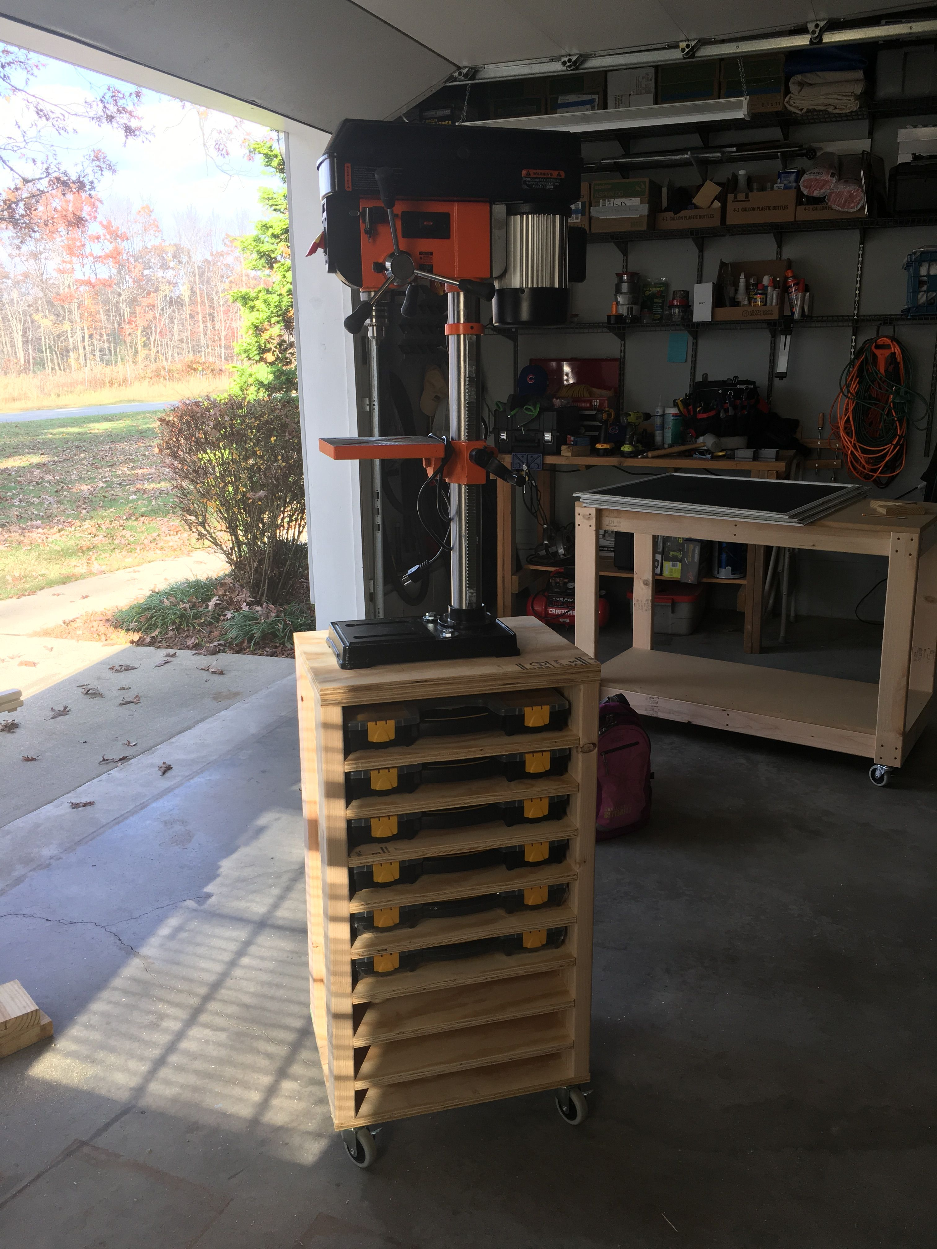 Bench Top Drill Press cart with storage rack Drill press