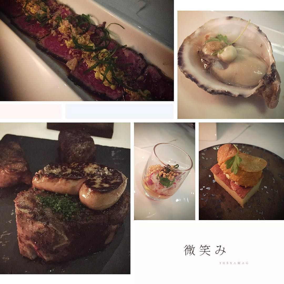 Last night's feast to celebrate a good friend's bday. I am not a steak person but I can make a nice meal out of their delicious appetizer selections. #yummy #steakhouse #oysters #kushi #hamachishooter #foiegras #tataki by fengsherry