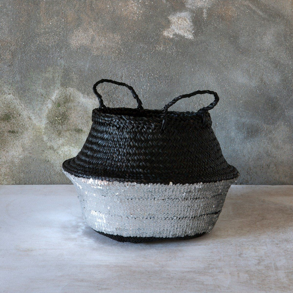 Gold Black Sequin Belly Basket Med Seagrass Planter Toy Laundry Basket Toulouse