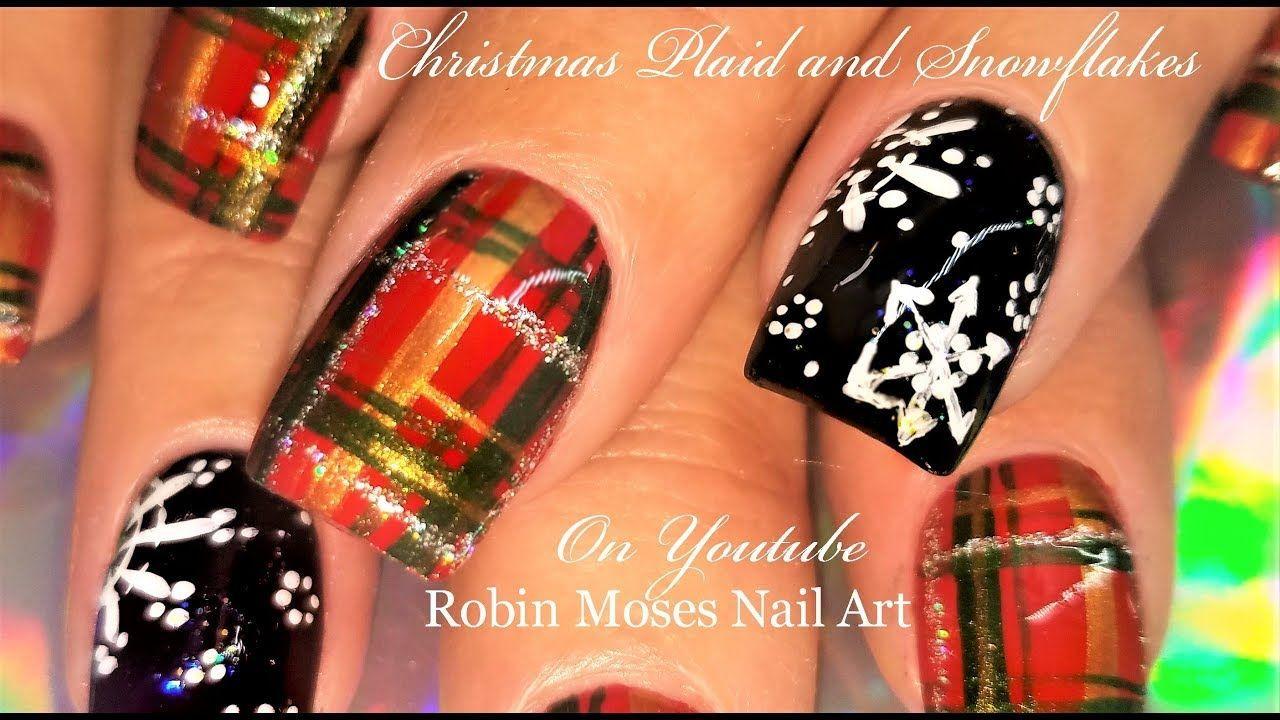 Plaid And Snowflakes Up New Christmas Nailart Nails Snowflakes