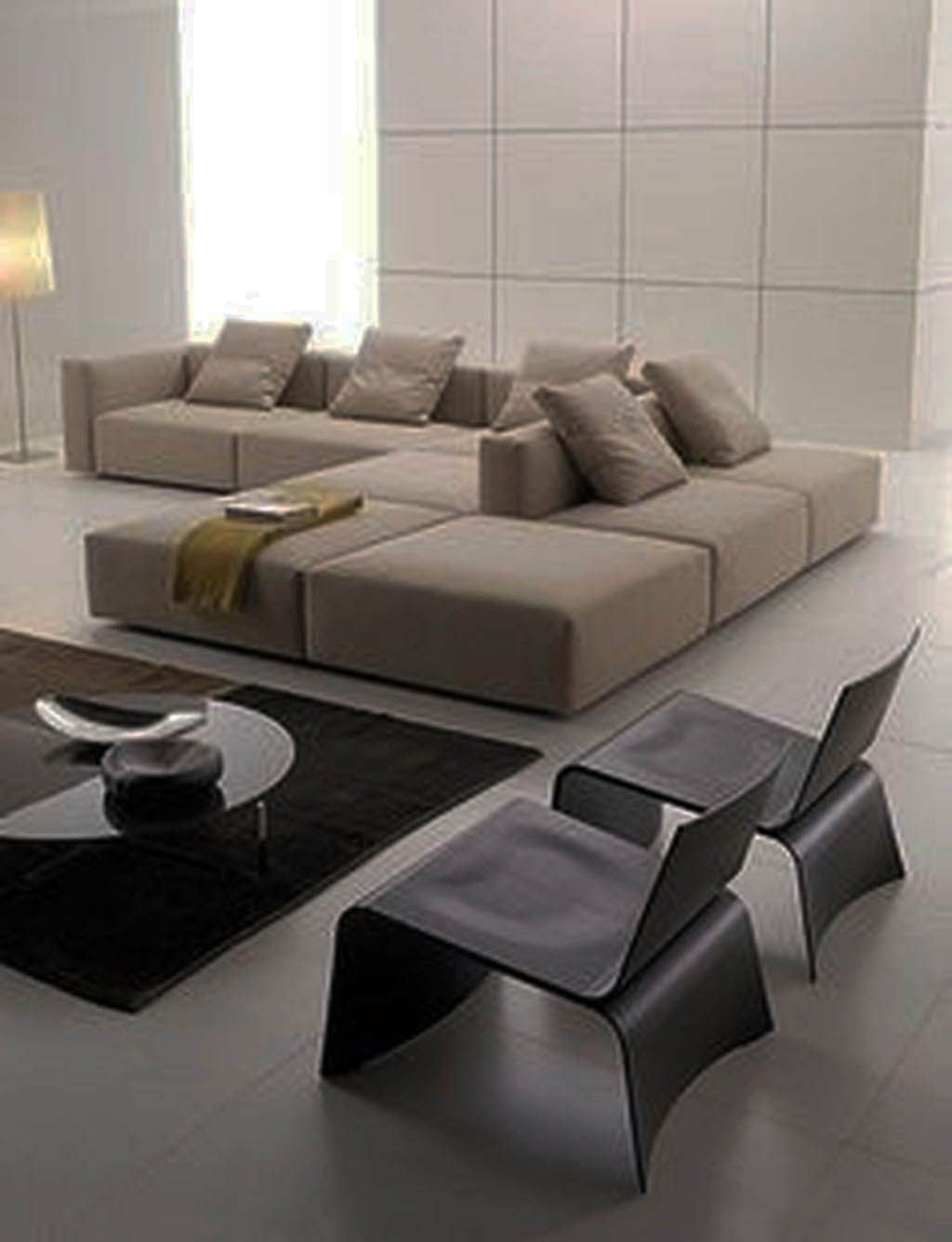 Best Fashionable Modern Living Room No Coffee Table Just On 400 x 300