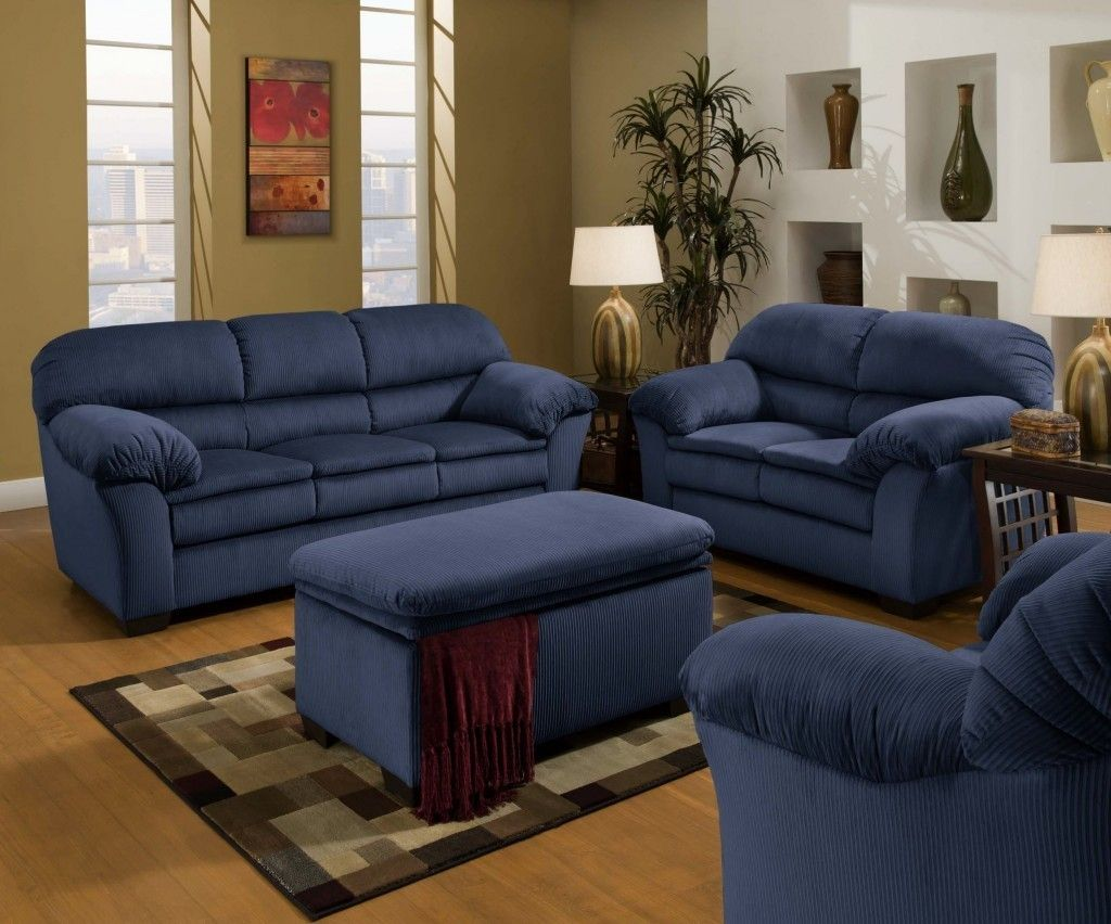 blue sofa and loveseat - Blue Living Room Set