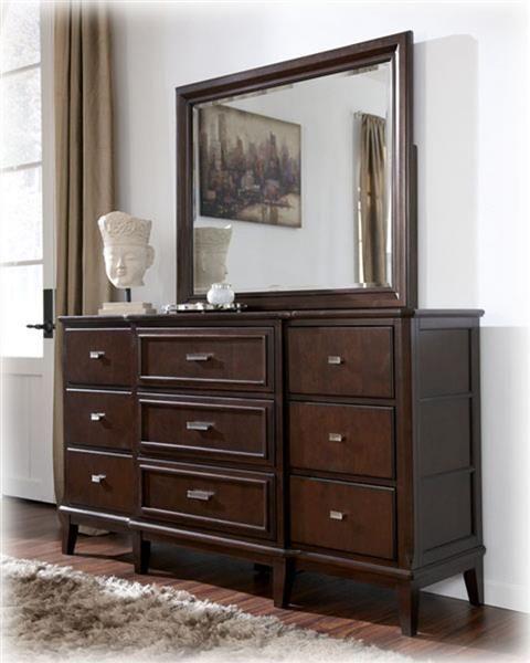 Larimer Contemporary Dark Brown Wood Glass Bedroom Mirror Furniture Dresser With Mirror