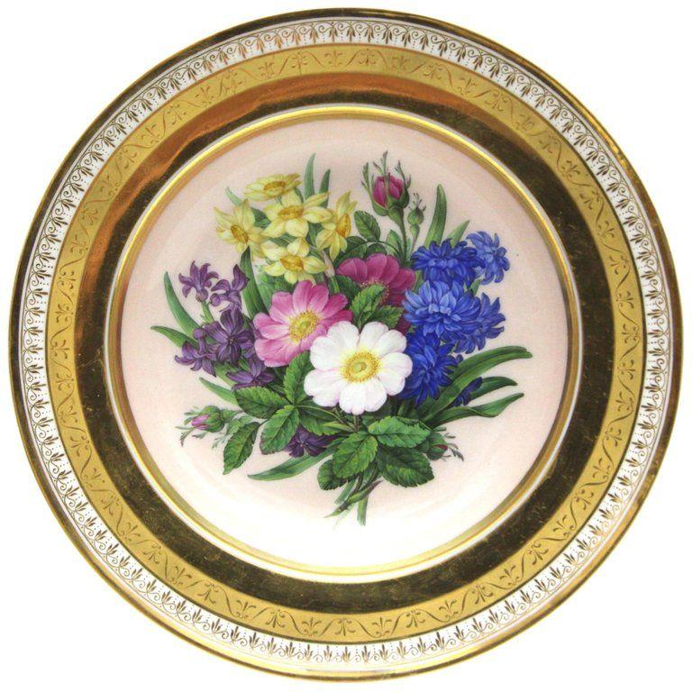 Deep Botanical Kpm Berlin Porcelain Plate With Rich Gold And Flower Painting Porcelain Vintage Porcelain Porcelain Plates