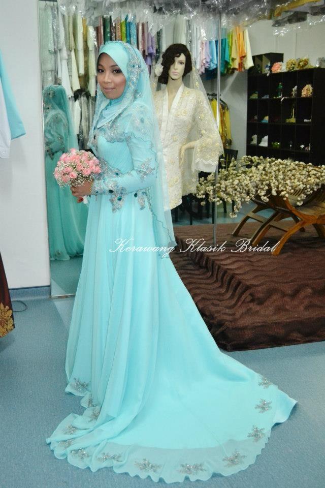 muslim #wedding #apparel #modesty #dress #flowy #blue #light #veil ...