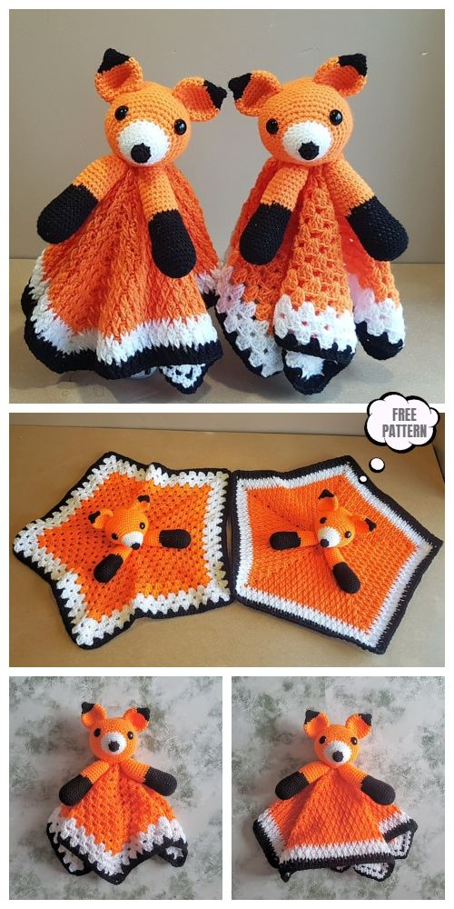 Crochet Fox Lovey Blanket Free Crochet Pattern & Paid - DIY Magazine