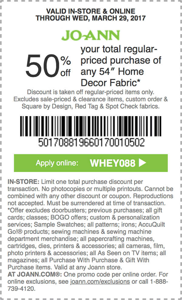 50% off your total regular-priced purchase of any 54 inch ...