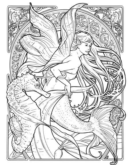 seahorse and mermaid coloring page illustration - Art Nouveau Unicorn Coloring Pages