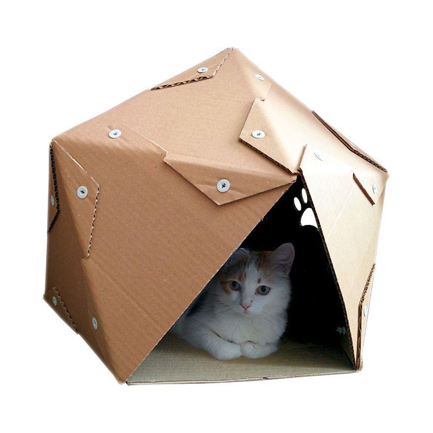 ไอเด ยสร างบ านแมวแบบง ายๆด วย กระดาษล ง เหม ยวแฮปป ค ณก แฮปป Cardboard Cat House Cat Bed Cat Toys