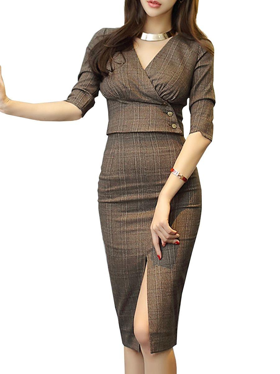 696ec0c7c6 Buy Women s OL Suits V Neck Half Sleeve Plaid Top High Waist Skirt Suits    Women s