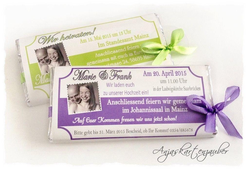 Einladungen Aus Schokolade   Www.anjaskartenzauber.net Gastgeschenke  Einladungen Schokoladen Hochzeit Taufe Geburtstag