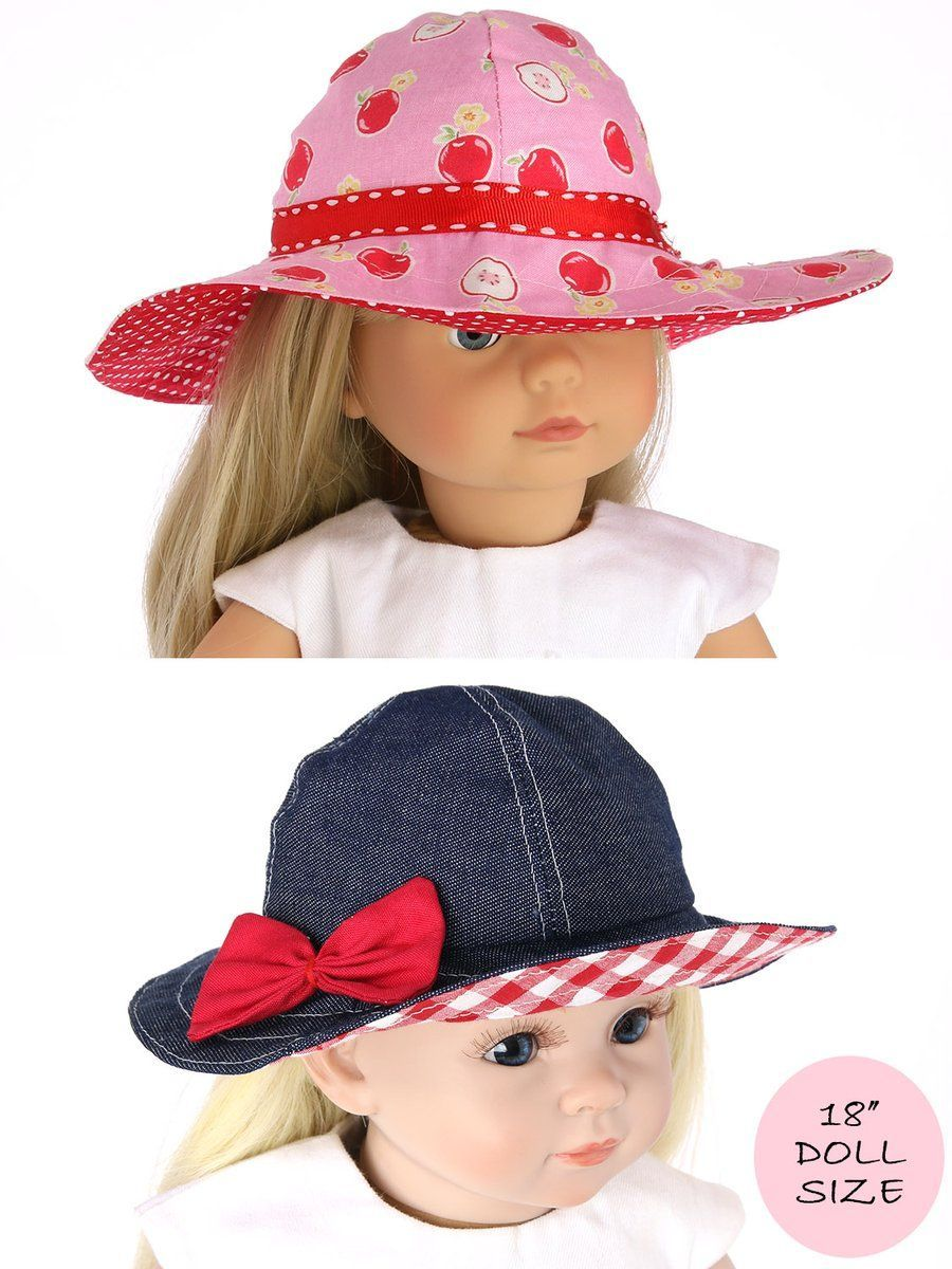 18 inch doll clothes patterns - SUNHAT (D1318) #dollhats 18 inch doll dress sewing pattern – TREASURIE - My Childhood Treasures #dolldresspatterns