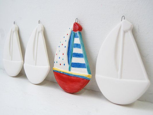 Bisque/Unpainted Ceramic Shapes, 3D Boat Hanging Decoration. Supplied in white, ready-to-paint.