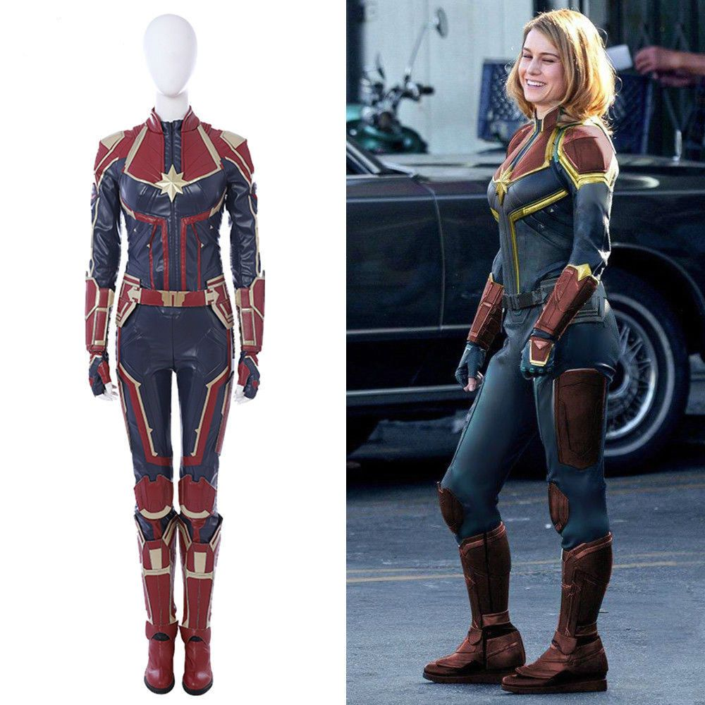 Captain Marvel Carol Danvers Cosplay Costume Leather Full Suit Custom Made Marvel Clothes Marvel Costumes Captain Marvel Captain marvel girls short sleeve costume dress & headband superhero cosplay. captain marvel carol danvers cosplay