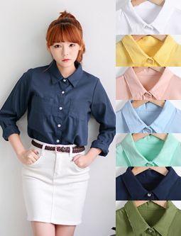 10world 피쉬 알록달록 7가지 컬러♡ 투 포켓 디자인으로 다른 셔츠와 차별화된 컬러 셔츠