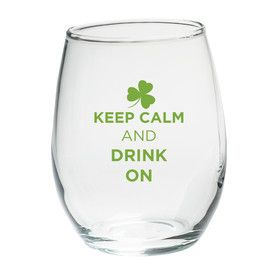 """Keep Calm and Drink On"" Green Design Stemless Wine Glass (Set of 4)"
