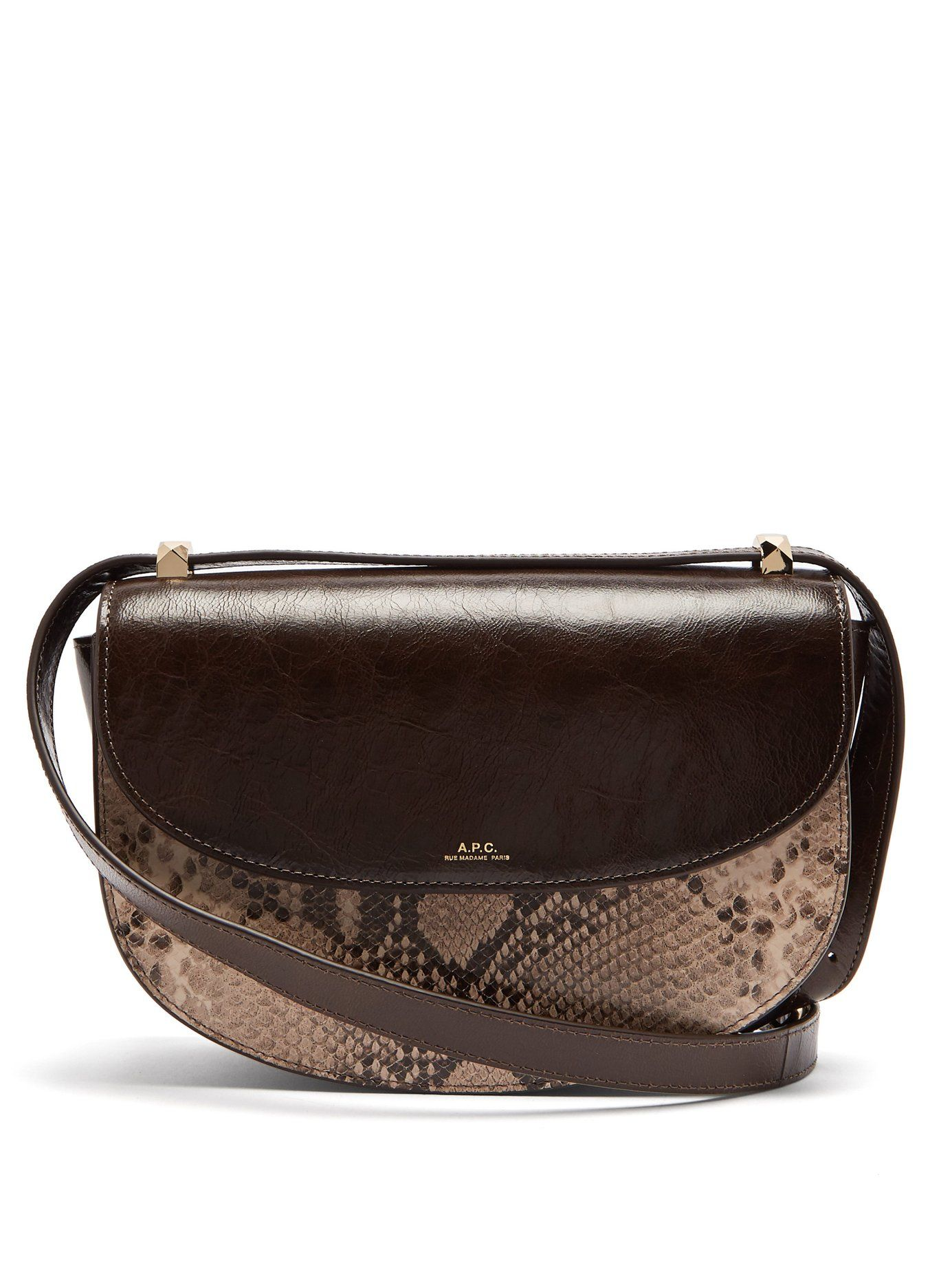 b6b658fc6ed8 Genève snake-print leather cross-body bag