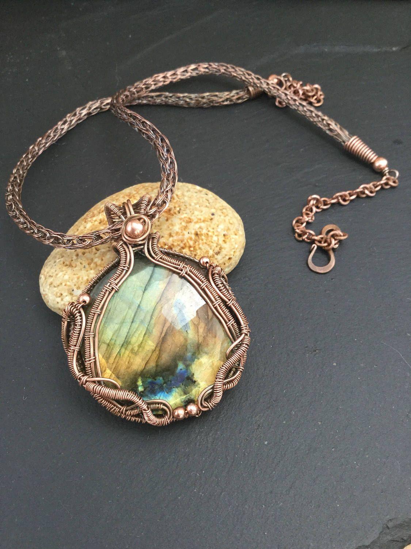 Wirewrapped gold labradorite necklace Wire wrapped labradorite jewelry Gold filled wirewrapped jewellery Gold labradorite pendant