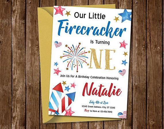 Firecracker Birthday Invitation Fireworks 4th Of July First Invita