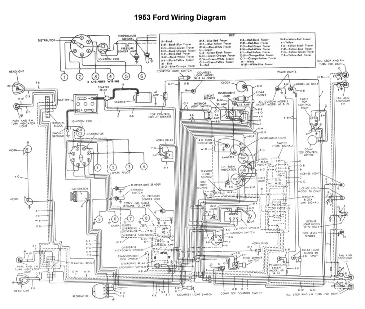 wiring for 1953 ford car ford 1952, \u002753, \u002754 wire, truck flathead electrical wiring diagrams