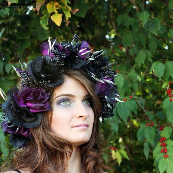 Dark Flower Crown Black and Purple roses by laurenLVvictoria 4accf6bd25d