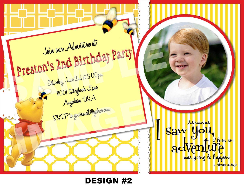 Winnie the Pooh Invitation - Winnie the Pooh Birthday Invitation ...