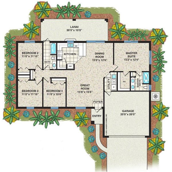 Cottrell Home Plan, 3 Bedroom, 2 Bath, 2 Car Garage