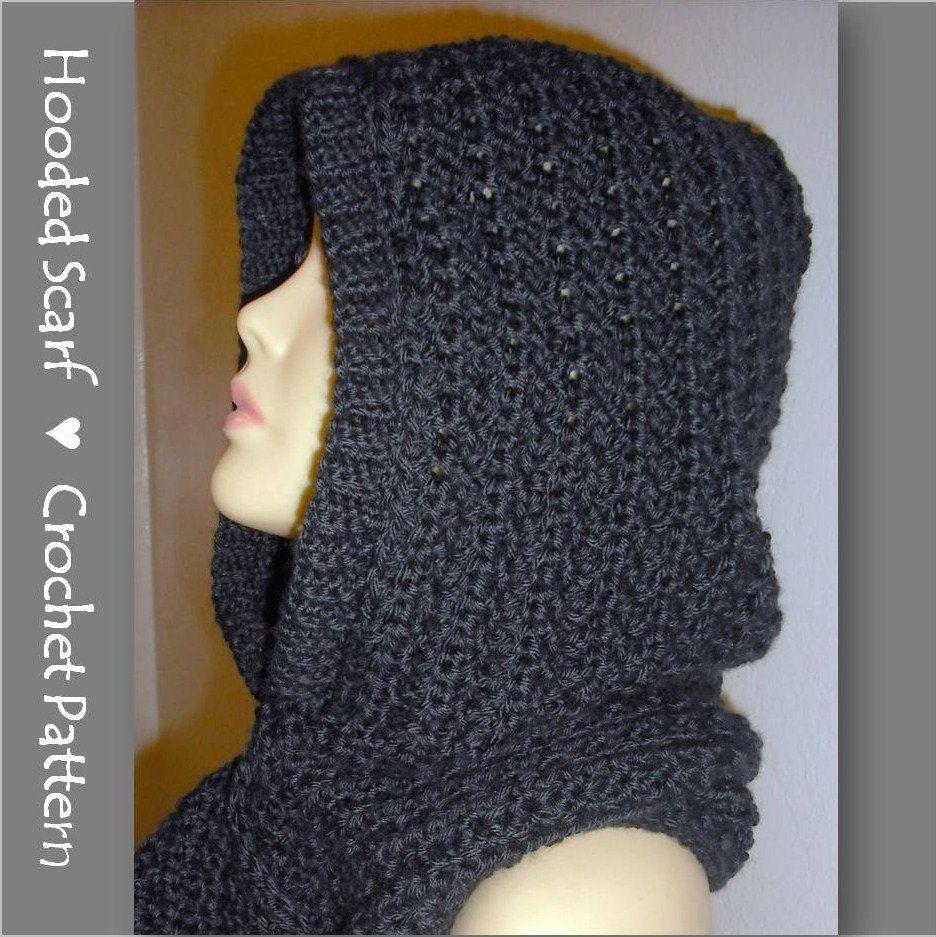 Hooded Scarf Crochet Pattern , Automatic Download | Gorros, Tejido y ...