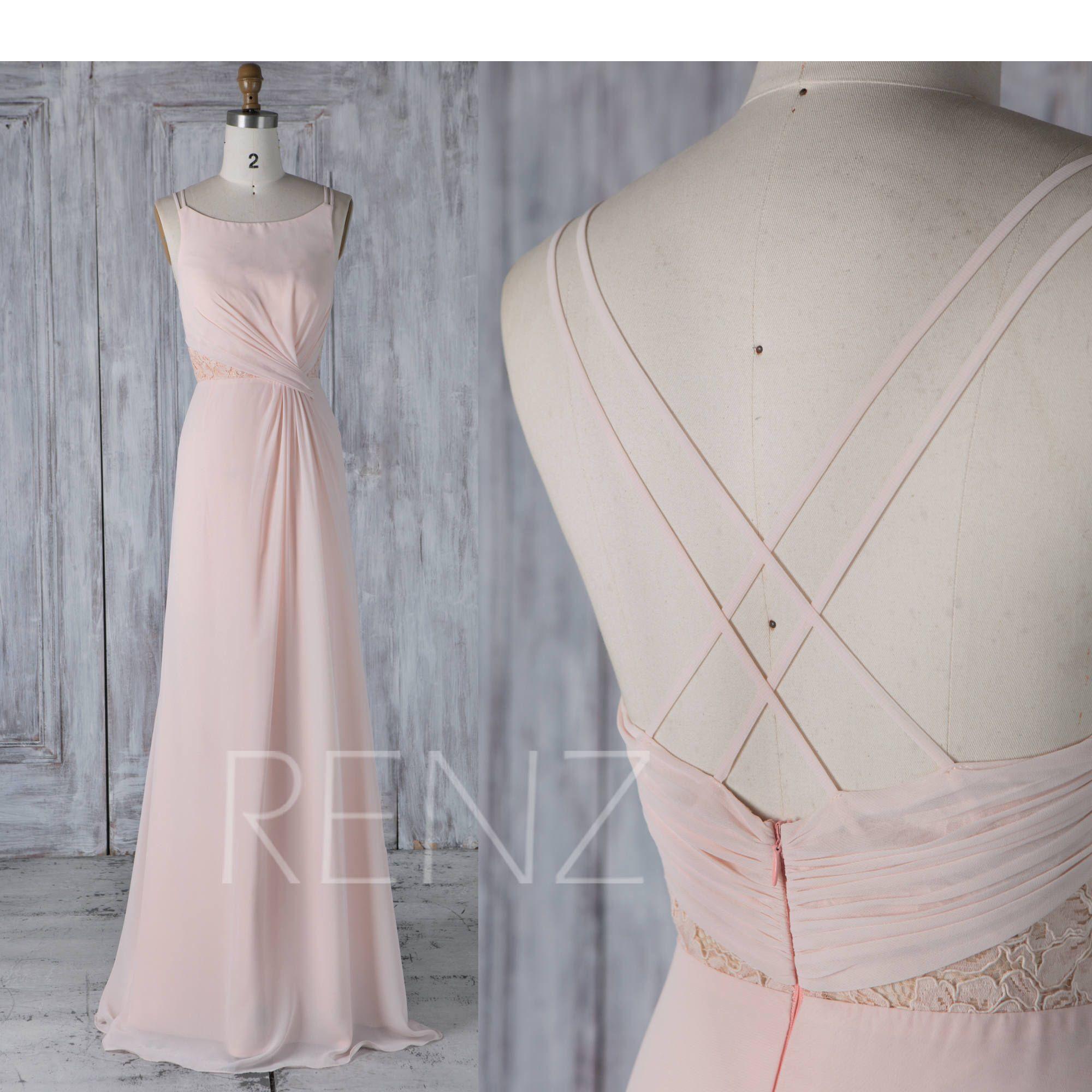 Bridesmaid dress peach chiffon wedding dressboat neck maxi dress