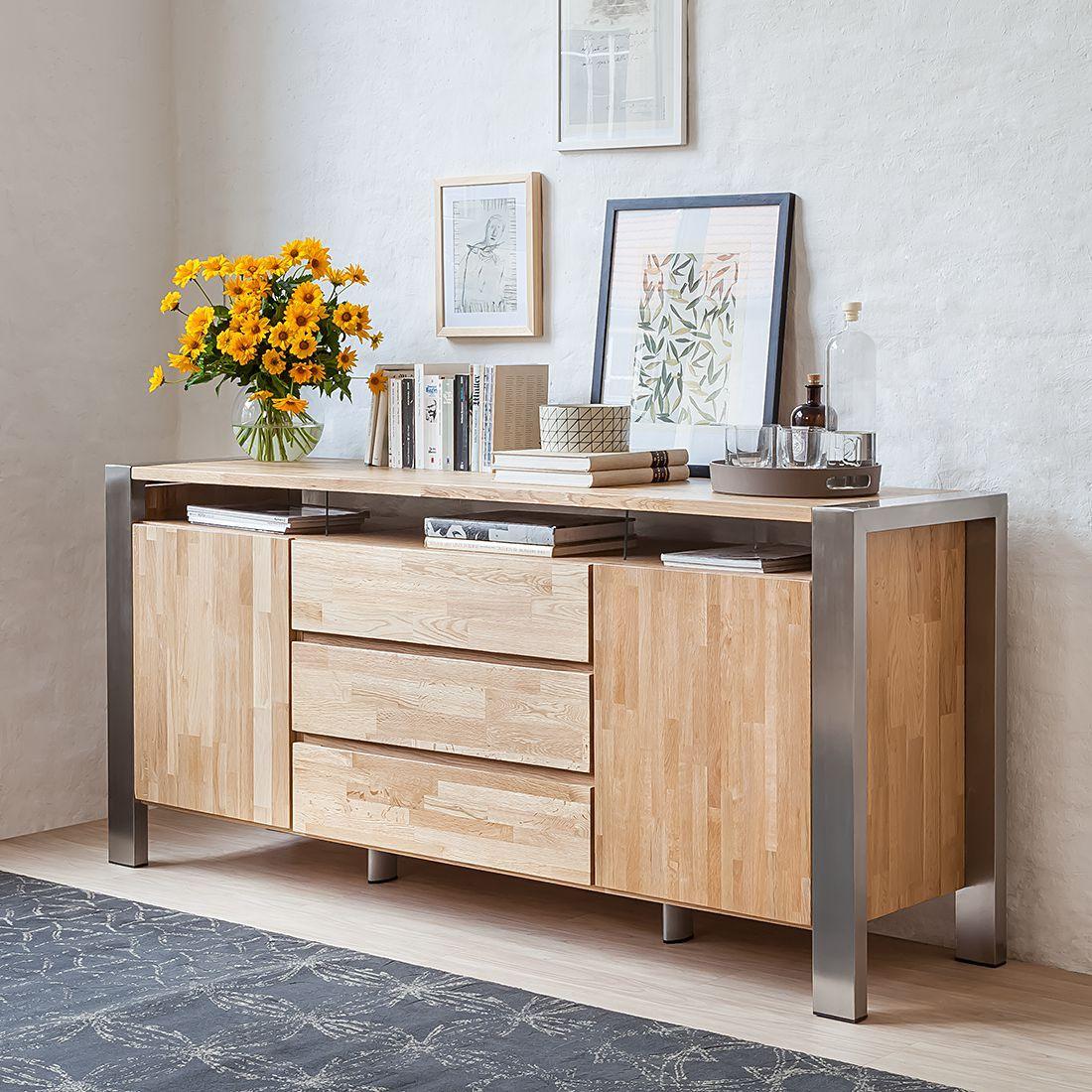 sideboard noah eiche massiv edelstahl geb rstet. Black Bedroom Furniture Sets. Home Design Ideas