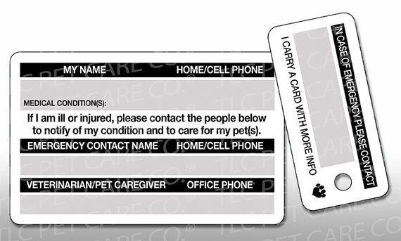 Pet Emergency Card Key Tag In Case Of Emergency Contact Etsy Pet Emergency Card Pet Emergency Contact Card