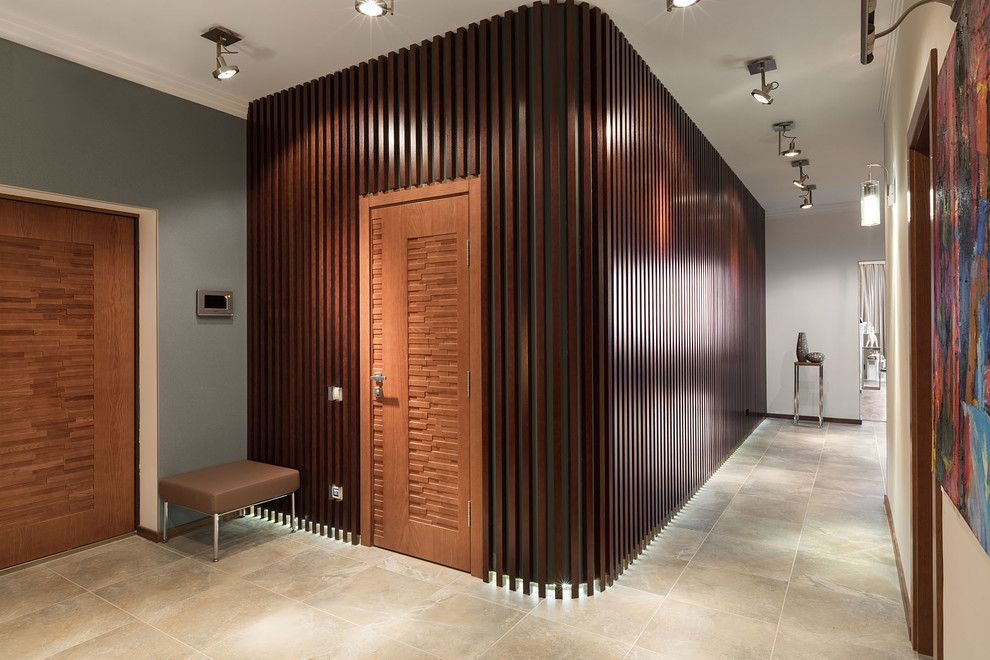 Amazing wood slat wall in living room traditional with