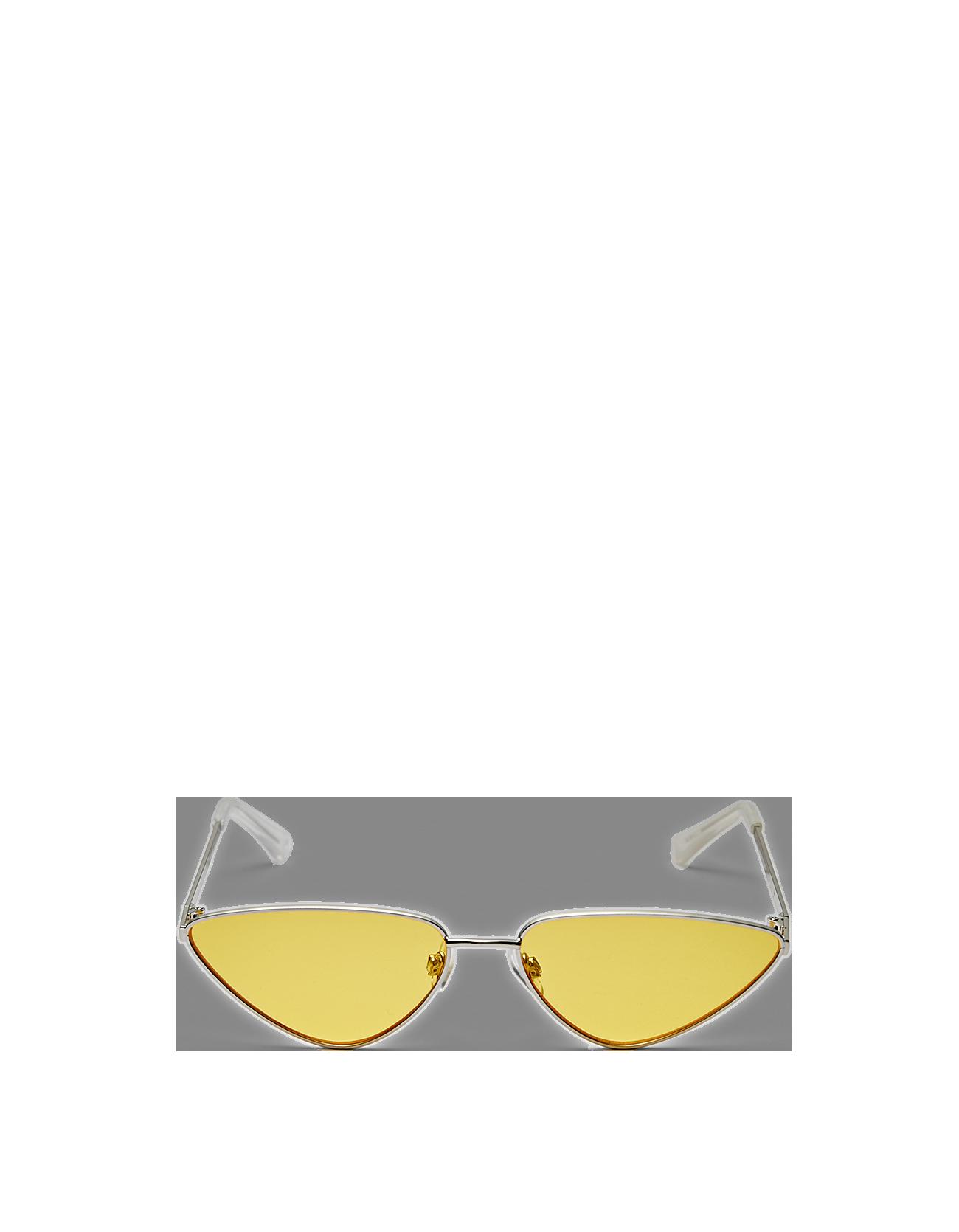 Gafas de sol de ojos de gato con montura metálica y lentes amarillas ...