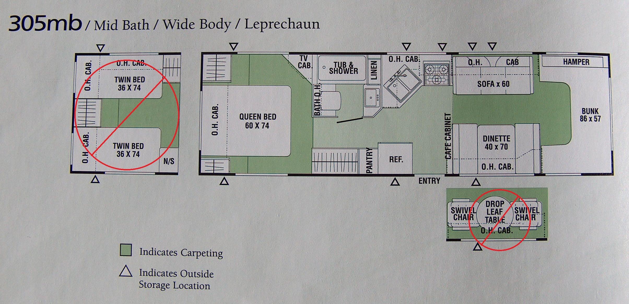 305mb Coachmen Leprechaun floor plan - huge closet | RV | Pinterest ...