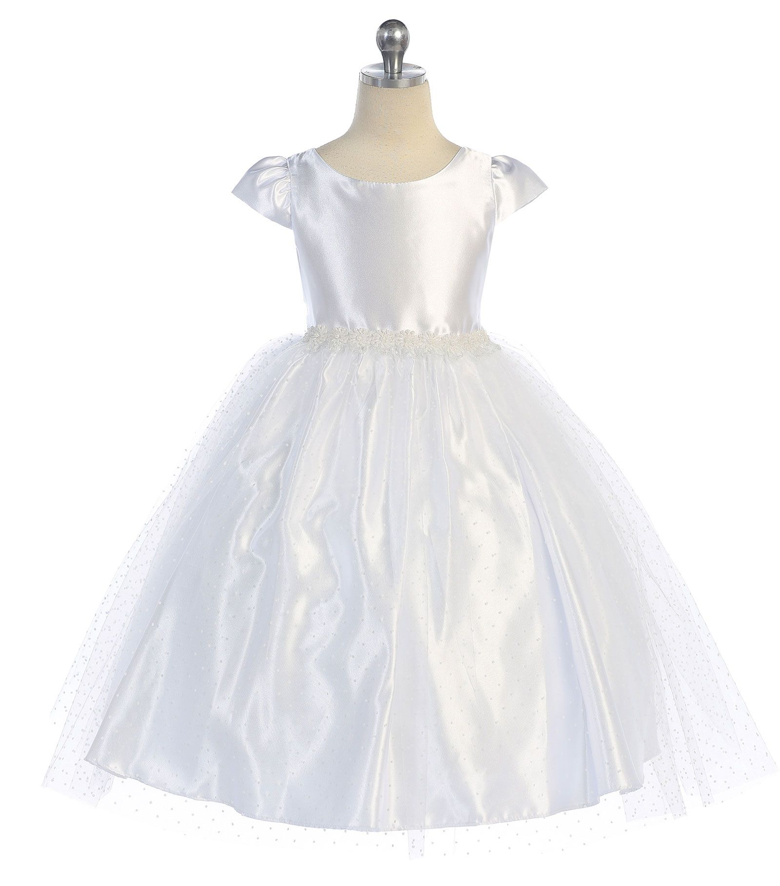 Beautiful cap sleeved satin and tulle dress that is classic ballerina style.If you look closely you will notice the beautiful polka-dot pattern throughout the skirt. Intricate floral and pearl designs align the waistband. The dress is fully lined for complete coverage to ensure that your princess stays comfortable.Baby sizes include matching headband. Sash is attached at side seams. This dress is made from a designer label that upholds to the highest in quality and super cute style.