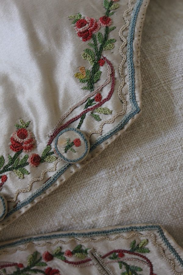 Trouvais 18th c embroidery - close up of the embroidery on the waistcoat.