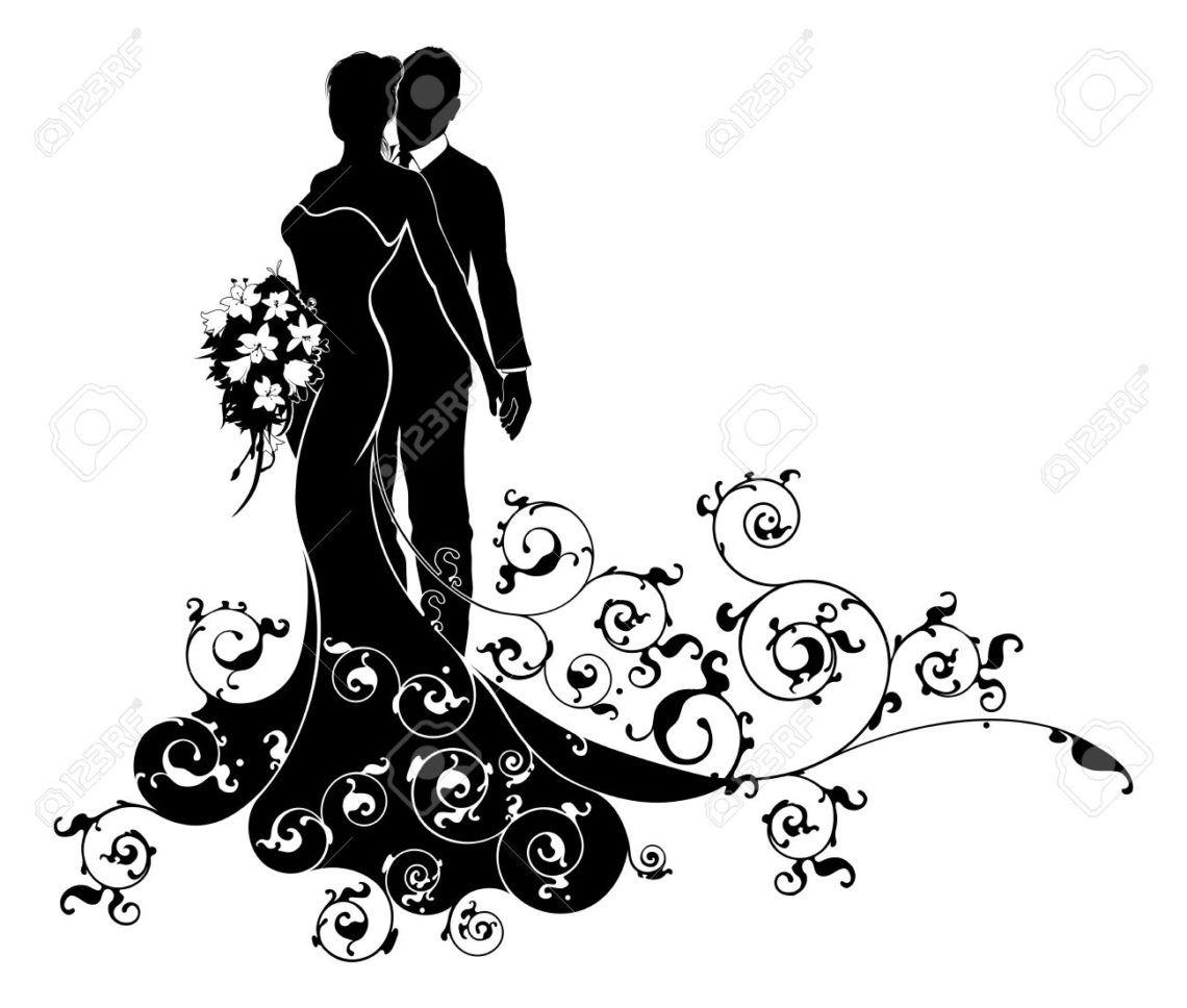 Populaire robe nuptiale Dessin Mariée: Un Couple De Mariage Mariée Et Le  GN41