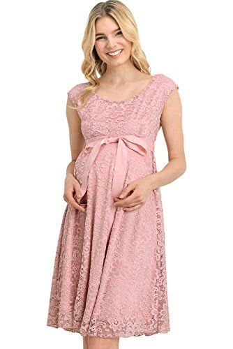 c0738a01734 Hello Miz Floral Lace Baby Shower Party Cocktail Dress with Satin Waist Maternity  Dress Large Mauve        AMAZON BEST BUY     SatinDresses
