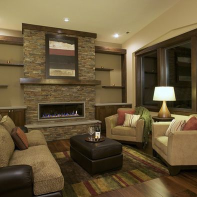Spaces Dark Stone Fireplace Cabinets Each Side Design