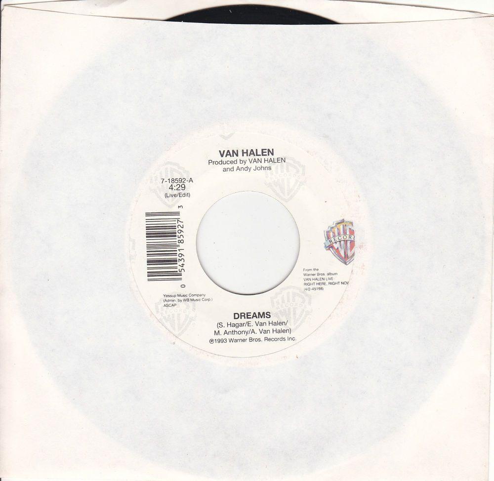 Van Halen Dreams Judgement Day 7 Vinyl 45 Rpm Jukebox Record Sammy Hagar Near Mint Rock Music Products I Love Best Songs Music Songs
