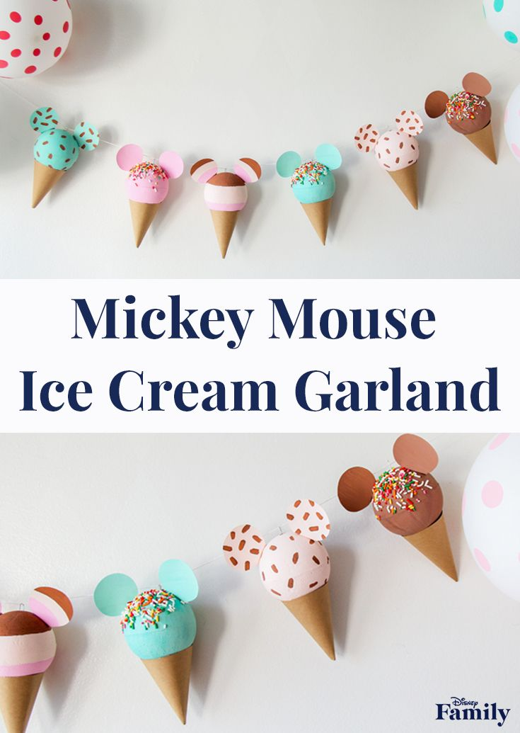 Mickey Ice Cream Cone Garland #disneycrafts