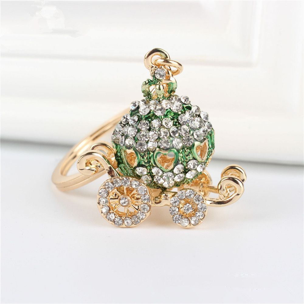 Green Cinderella Pumpkin Carriage Rhinestone Keychain Birthday ...