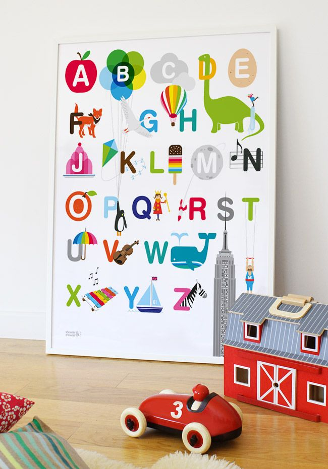 Prints For Kid Bedroom Walls | New Art Prints : New Kids ABC Wall Art:  Illustrated Alphabet Print 18 .