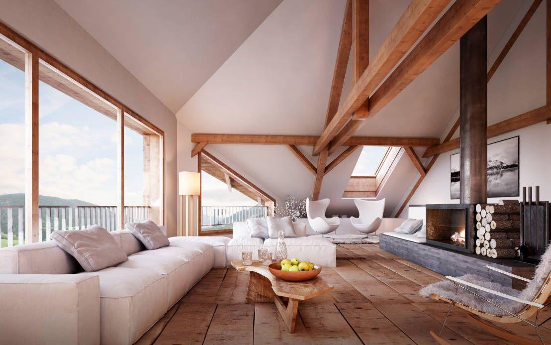 Wohnen Im Dachgeschoss : Rustikale Wohnzimmer Von Von Mann Architektur GmbH