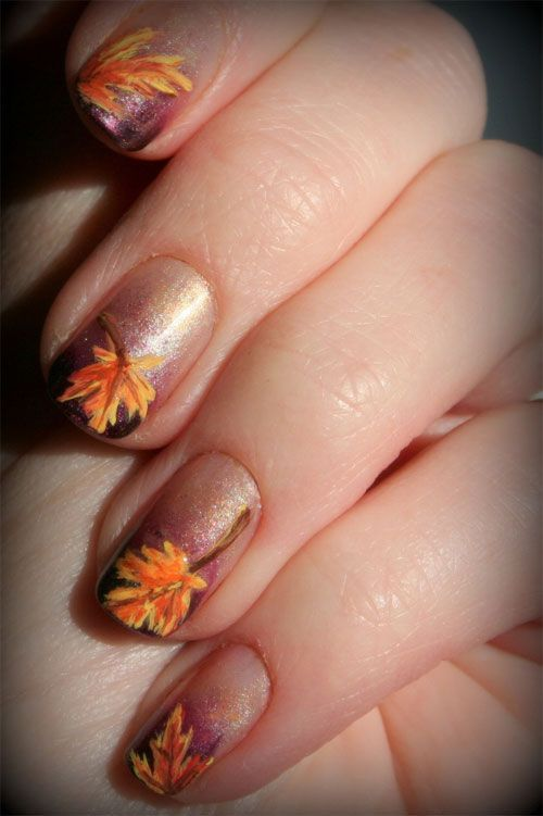 55 Seasonal Fall Nail Art Designs   Bronze nails, Fall leaves and ...