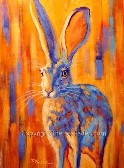 """Jacquelyn"" jack rabbit painting by Theresa Paden ~ 24"" x 18"""